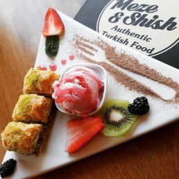 Baklava, ice cream and fruits DESSERT